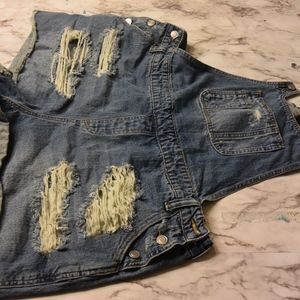 Forever21+  Distressed Denim Overalls in 2X